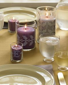 No-Stitch Cross-Stitch Candlehodlers - Trace our leafy templates onto large candleholders with an extra-fine-tip paint pen, for a beautiful centerpiece that looks stitched.