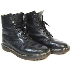Doc Martens Combat Ankle Boots Black Leather Chunky Grunge 90s Dr... ($68) ❤ liked on Polyvore featuring shoes, boots, ankle booties, black leather bootie, short black boots, black lace up booties, combat booties and black military boots