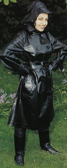 Shiny Black Rubber Trench Coat Spy Queen in the rain...