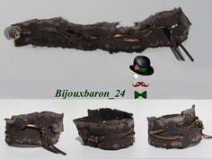 Armband, Used Look, Leder, braun von Bijouxbaron_24 auf DaWanda.com