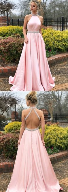 Simple A-line Prom Dresses Pink High Neck Cheap Beading Prom Dress/Evening Dress