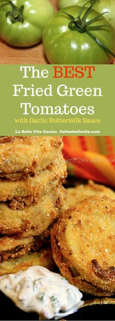 Fried Green Tomatoes with Garlic Bacon Buttermilk Sauce Side Dish Recipes, Veggie Recipes, Appetizer Recipes, Vegetarian Recipes, Cooking Recipes, Tomato Appetizers, Dog Recipes, Asian Recipes, Gastronomia