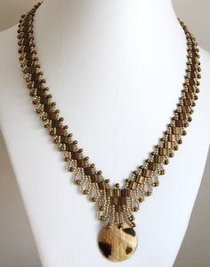 RosemaryB Jewellery: Bronze Tila Bead Necklace.