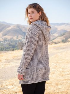 """Wrap yourself in casual style with this versatile hooded cardigan! Includes sizes S (M, L, XL, 2XL, 3XL). Sample made using 9 (10, 12, 13, 14, 15) skeins of Plymouth Encore worsted-weight yarn. Finished measurements are: Bust: 38"""" S (40"""" M,..."""