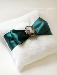 SALE Emerald Ring Bearer Pillow Wedding Ring Pillow Bearer Ring Pillow Lace Wedding Bright Ring Pillow Wedding Ring holder ring bearer (34.00 USD) by JewelryBouquet