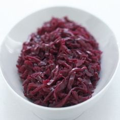 Braised Red CABBAGE, with Apples ----   It can be made a day or two before and gently reheated with no last-minute bother.  It is a perfect accompaniment to venison, goose or pork. (Delia Smith).  Christmas
