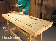 Build a Work Bench On a Budget A tough, stable workbench that only takes an afternoon to build  Build a simple, strong workbench made entirely from 2x4s. It's inexpensive (less than $100) and takes only about four hours to build. By the DIY experts of The Family Handyman Magazine