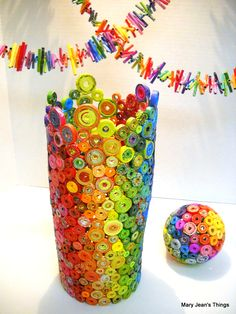 Rolled Paper Vase, Ball and Garland Strands