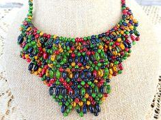 Vintage Woven Bead Bib Choker Necklace