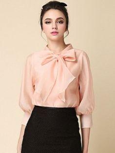 Pink Bow Front 3/4 Sleeve Organza Shirt