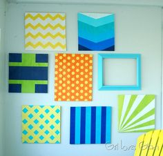 Scrap Wood Pattern Gallery Wall via Girl Loves Glam #diy #stencil #color #scotchblue