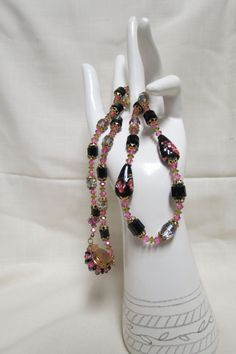 Vintage Cathedral Cut Beads Necklace Beaded Clasp Pink Aurora Borealis Lampwork Foil Murano Style Beads Bead Caps by KansasKardsStudio on Etsy