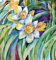 """Daffodils"" - by Trudi Doyle    ~Watercolor"