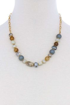 Graduated Genuine Abalone Beaded Necklace with Silver Toned Flower Spacers Chain and Adjustable Extender 15-18 Inch
