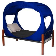 Privacy Pop Tent (Twin) - BLUE, great idea for dorm rooms when one roommate is up and the other wants to sleep.  The tent closes on either side.