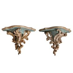 Pair of Large Italian Painted and Silvergilt Wall Brackets