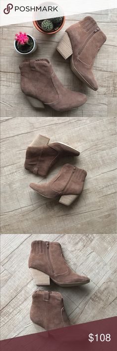 """Jeffrey Campbell Norwalk Taupe Suede Ankle Bootie * Jeffrey Campbell suede ankle bootie * side zip closure  * 3"""" stacked heel * suede upper * brand new with box      * all measurements are approximate Jeffrey Campbell Shoes Ankle Boots & Booties"""