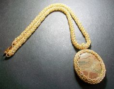 Elegant Necklace with Silver Mist Stone in a beaded frame by KerisKrystals