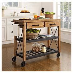 Rustic Wood Top Kitchen Cart in Natural