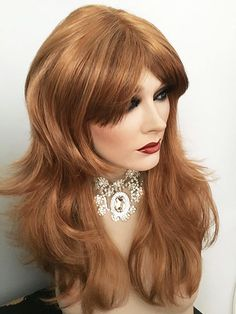 VanityMono, Fully Hand Tied 3/4 wide Monofilament Top Wig, Russet Glow