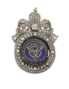 An early nineteenth-century diamond brooch with interlocking flaming hearts pierced with arrows at the centre, symbols of love. (Sotheby's)