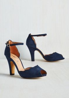 Dark Blue Scallops - Something Blue Wedding Shoes - Photos