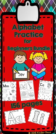 ABC Practice for Beginners Bundle. 156 pages BUNDLE and SAVE!  Sheets can be used as an introduction or reinforcement. Bundle includes 5 products: -ABC fun & Play-Dough Mats  Just print and laminate  -ABC fun & color  fun coloring patterns -ABC Mini Books  Just print and fold! No pasting, cutting are stapling required! -Phonemic Awareness -ABC Awareness