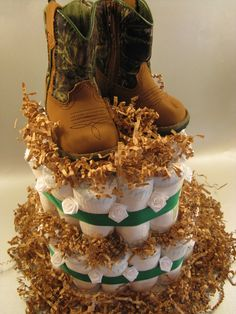 Cowboy OR Girl Diaper Cake country baby shower Cowboy Baby Shower, Baby Boy Shower, Baby Shower Gifts, Baby Gifts, Cowboy Diaper Cakes, Diy Diaper Cake, Babyshower, Diaper Parties, Shower Bebe