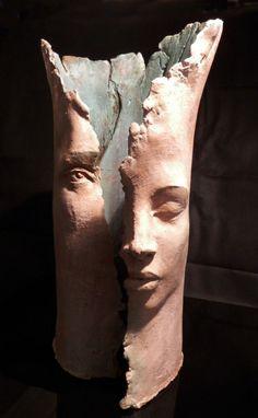 Terracotta Column Pillar Columnar Stele sculpture statuary sculpture by sculptor Paola Grizi titled: 'the dream'