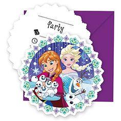12-teiliges Einladungskarten-Set * FROZEN - SCHNEEFLOCKE * für Disney-Kindergeburtstag // 6 Einladungskarten plus 6 Umschläge // Kinder Geburtstag Disney Snowflake