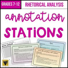 Help students master the art of rhetorical analysis with five annotation and critical thinking stations. Annotation Stations are a perfect way to differentiate and provide structured work time as students practice analyzing rhetorical techniques. Use them with ANY informational text. Each station ha... Ap Language And Composition, Close Reading Lessons, Teaching Secondary, Middle School Writing, Creative Teaching, Reading Strategies, English Teachers, English Classroom, Teaching English