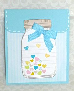 Gift Card Holder Mason Jar Card with Hearts by createdbycolette, $2.50