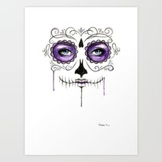 Watercolor painting of a Sugar Skull in purple.