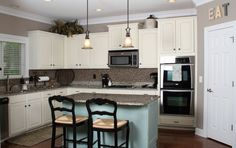 Annie+Sloan+Chalk+Paint+Cabinets | Annie Sloan Chalk Painted Kitchen Cabinets in Duck Egg Blue and Old ...