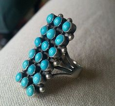 Native American ring, turquoise size 8.5-9 vintage pawn