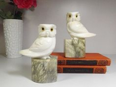Antique Alabaster stone Owl Bookends. vintage carved alabaster owl bookends, Alabaster stone, hand made in Italy .home decor. label. Marble on Wanelo