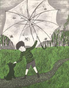 """The April Umbrella"" illustrated by Roger Duvoisin"