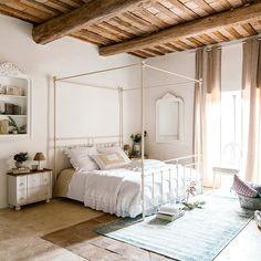 Cama con dosel 160 × 200 cm de metal blanca Syracuse   Maisons du ...