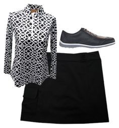 black and white icikuls shirt by theladiesproshop on Polyvore featuring FootJoy, ladiesgolfapparel, ladiesgolfoutits and womensgolfoutfits