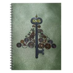Green Steampunk Christmas Tree Spiral Notebook - click/tap to personalize and buy