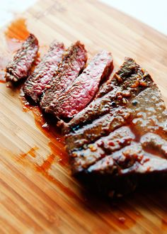 Flat Iron steak, aka, the best steak EVER. Perfect for fajitas and stir-frys, or just grilled/broiled and sliced. Very tender and flavorful--and inexpensive compared to skirt and flank steak. I cook with this all the time now that I've discovered it! Flat Iron Steak Marinade, Steaks, Steak Recipes, Cooking Recipes, Easy Recipes, Healthy Recipes, My Burger, Marinated Steak, Pesto