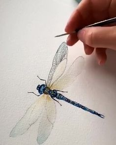 Bee Creative Watercolors Are Often Associated With Broad Undetailed Strokes Of Color This Bee Proves That Watercolor Paint Is Great For The Little Details Too Artist Credit Wolfandbear Journey Co Watercolour Tutorials, Watercolour Painting, Painting & Drawing, Watercolors, Watercolor Techniques, Dragonfly Painting, Dragonfly Art, Dragonfly Drawing, Dragonfly Jewelry