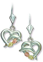 Stylish Landstroms sterling Black Hills Silver heart leverback earrings with dolphin in heart with pink and green 12 karat Black Hills Gold leaves.