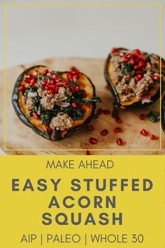 Stuffed Acorn Squash Paleo Recipe (AIP, Whole Gluten-Free) - Rooted In Healing Vegan Dinner Recipes, Vegan Dinners, Paleo Recipes, Real Food Recipes, Easy Dinners, Bread Recipes, Easy Recipes, Paleo Whole 30, Whole 30 Recipes