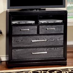"""Media Chest Bridger Collection $313 Sku :  CM7680TV Style :Contemporary Style Color / Finish: Gray & Black Material :Wood Veneer & Others, Solid Wood Dimensions : 40""""W X 17""""D X 38""""H"""
