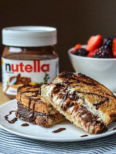 Warm panini with nutella, cream cheese and flaky salt