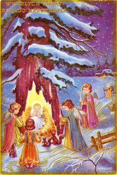 Wesolych Świąt Bożego Narodzenia - Dans le creux d'un arbre l'Enfant Jésus couché sur la paille, des anges avec des cierges, deux écureuils et un lapin - 1991 (from http://mercipourlacarte.com/picture?/1283/)