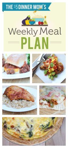 Free Weekly Meal Plan including recipes for: Chicken Fajita Melts, Grilled Hawaiian Pizza, Slow Cooker Apricot Chicken, Slopp-Cheesy Joe Sliders, Grilled Chicken with Mango & Avocado Salsa, and more! | 5DollarDinners.com