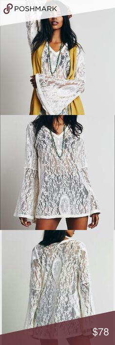 Free People  X Tartlet Tunic🌿 Swingy sheer Lace V neck w romantic bell sleeves vintage inspired ☮️ in excellent like new cond worn a couple times size s. Will work for xs- to perhaps m nice flow to this piece Free People Tops Tunics