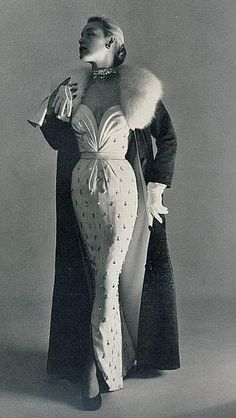 Plunging Strapless Evening Dress and Fur Collar Evening Coat 1950s: